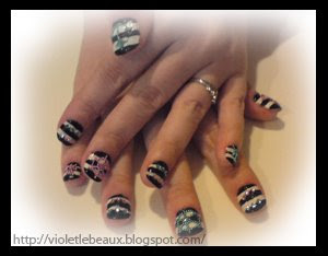 Nail Art Style- Black and White Nautical Pirates
