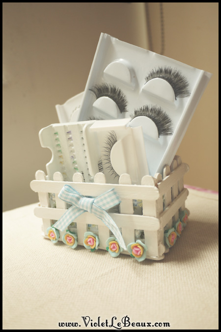 Popsicle Stick Craft Tutorial-  White Picket Fence Make Up Box
